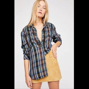 Free People Magical Embroidered Plaid Button down